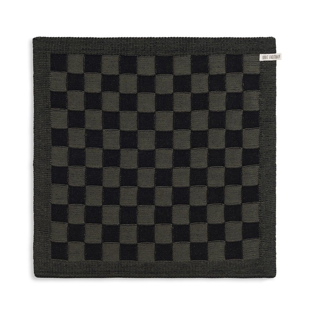 knit factory 2010063 keukendoek grote blok 2 kleuren zwart khaki