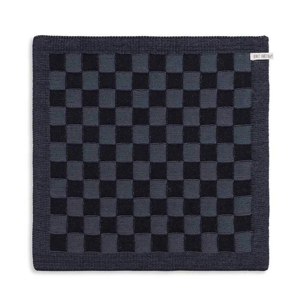 knit factory 2010068 keukendoek grote blok 2 kleuren zwart granit