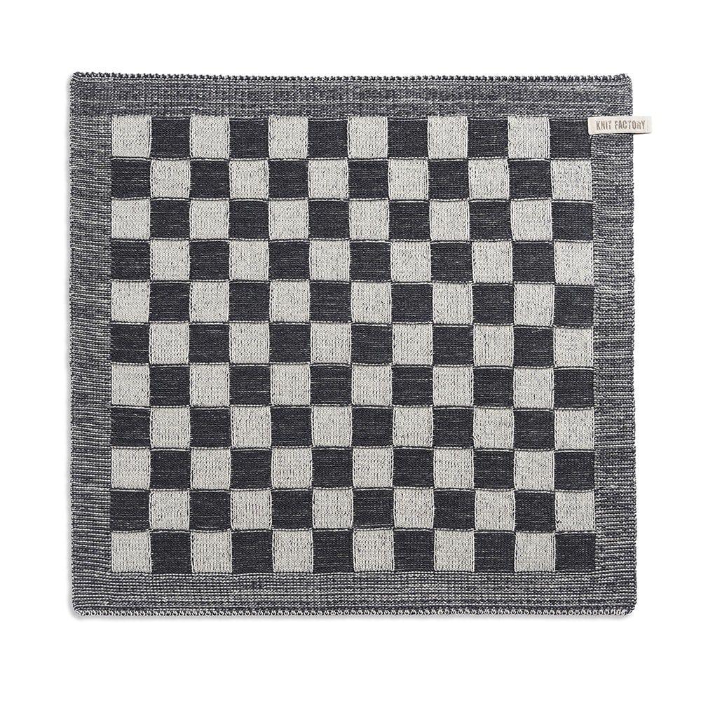 knit factory 2010070 keukendoek grote blok 2 kleuren ecru antraciet