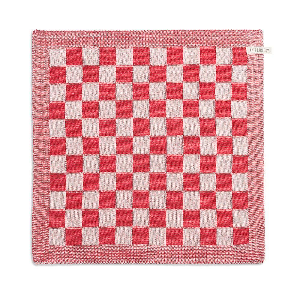 knit factory 2010073 keukendoek grote blok 2 kleuren ecru rood