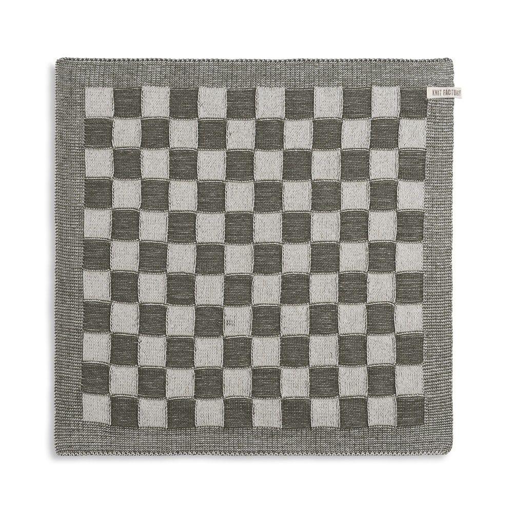 knit factory 2010083 keukendoek grote blok 2 kleuren ecru khaki