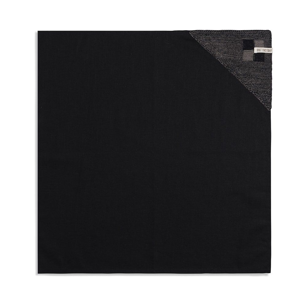 knit factory 2010139 theedoek grote blok 2 kleuren zwart taupe 1