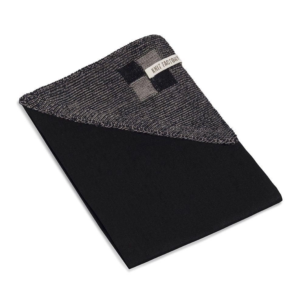 knit factory 2010139 theedoek grote blok 2 kleuren zwart taupe 2