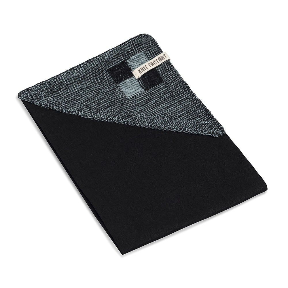 knit factory 2010140 theedoek grote blok 2 kleuren zwart stone green 2