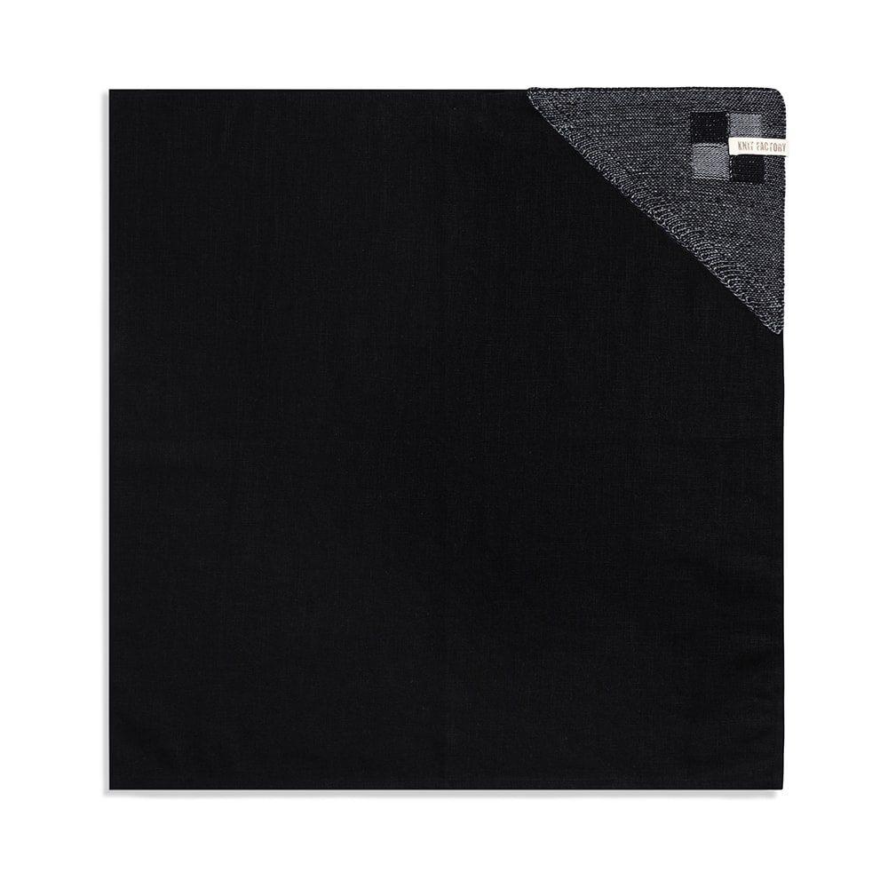 knit factory 2010146 theedoek grote blok 2 kleuren zwart med grey 1
