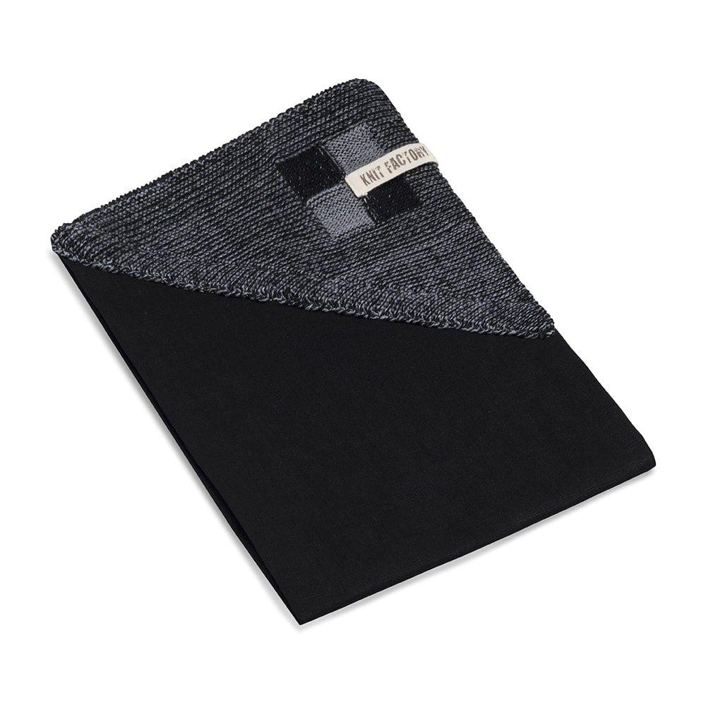 knit factory 2010146 theedoek grote blok 2 kleuren zwart med grey 2