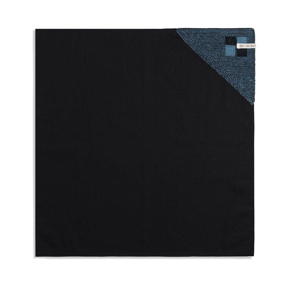 knit factory 2010147 theedoek grote blok 2 kleuren zwart ocean 1