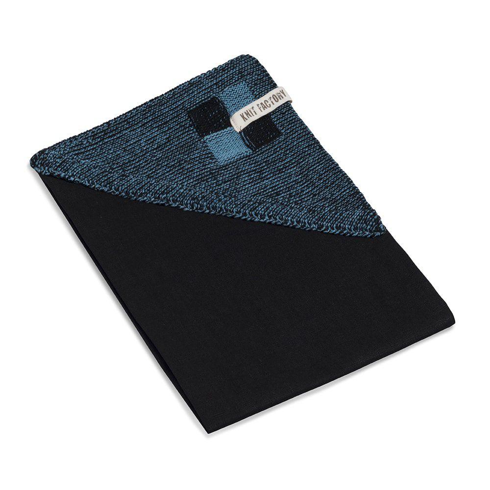 knit factory 2010147 theedoek grote blok 2 kleuren zwart ocean 2