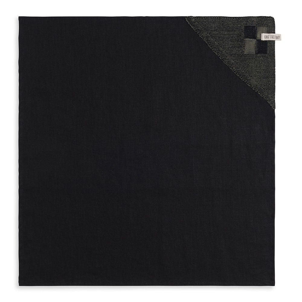 knit factory 2010163 theedoek grote blok 2 kleuren zwart khaki 1