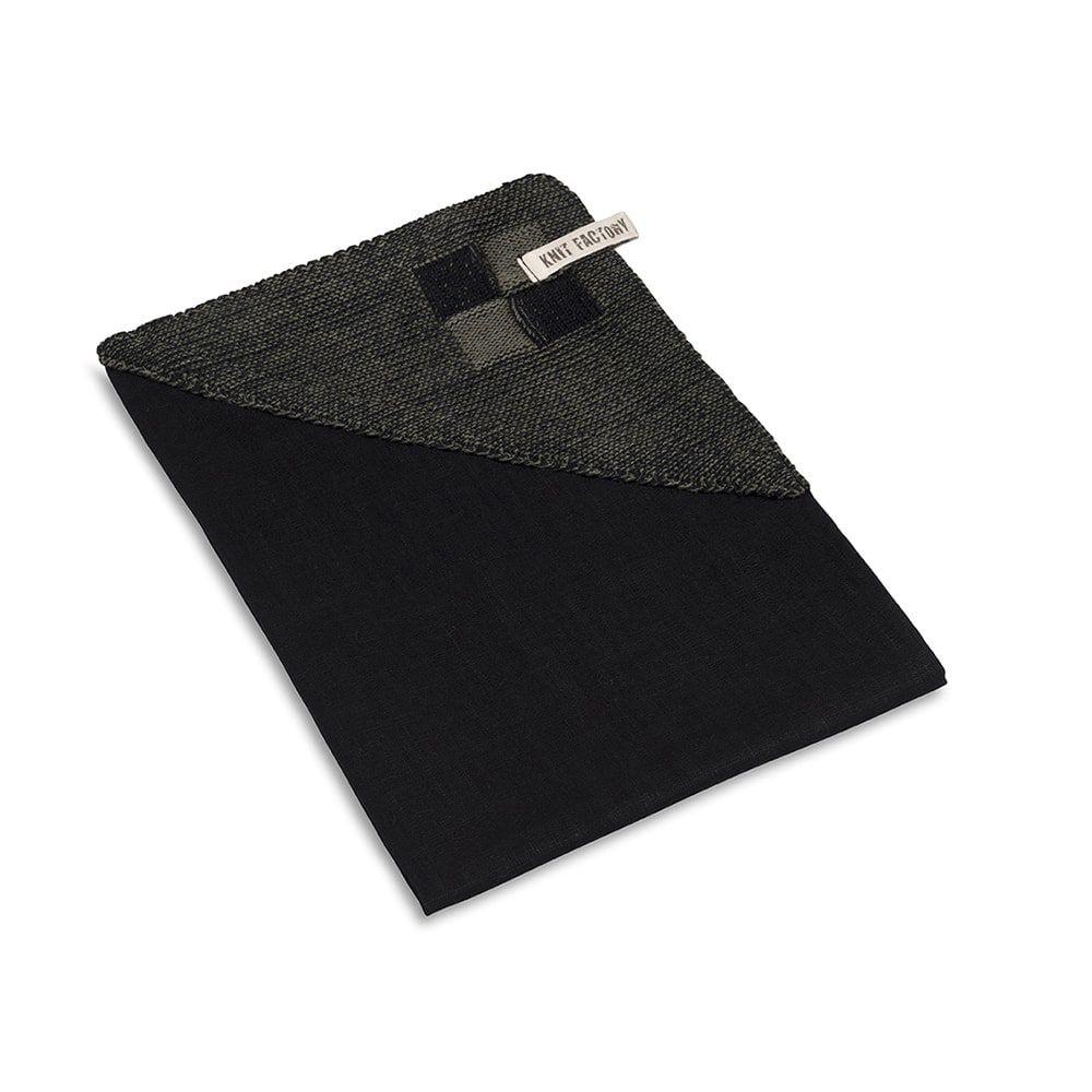 knit factory 2010163 theedoek grote blok 2 kleuren zwart khaki 2