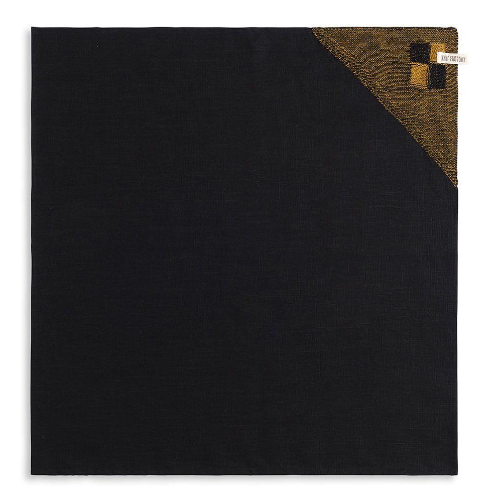 knit factory 2010167 theedoek grote blok 2 kleuren zwart oker 1