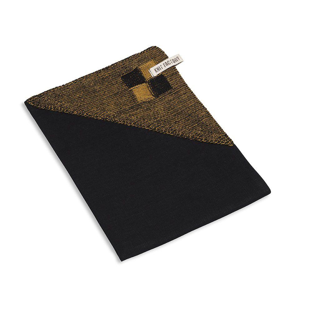 knit factory 2010167 theedoek grote blok 2 kleuren zwart oker 2