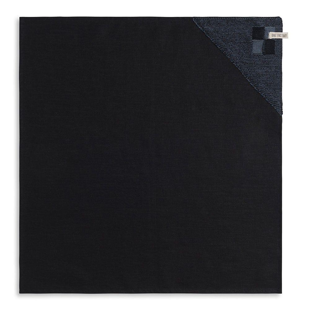 knit factory 2010168 theedoek grote blok 2 kleuren zwart granit 1