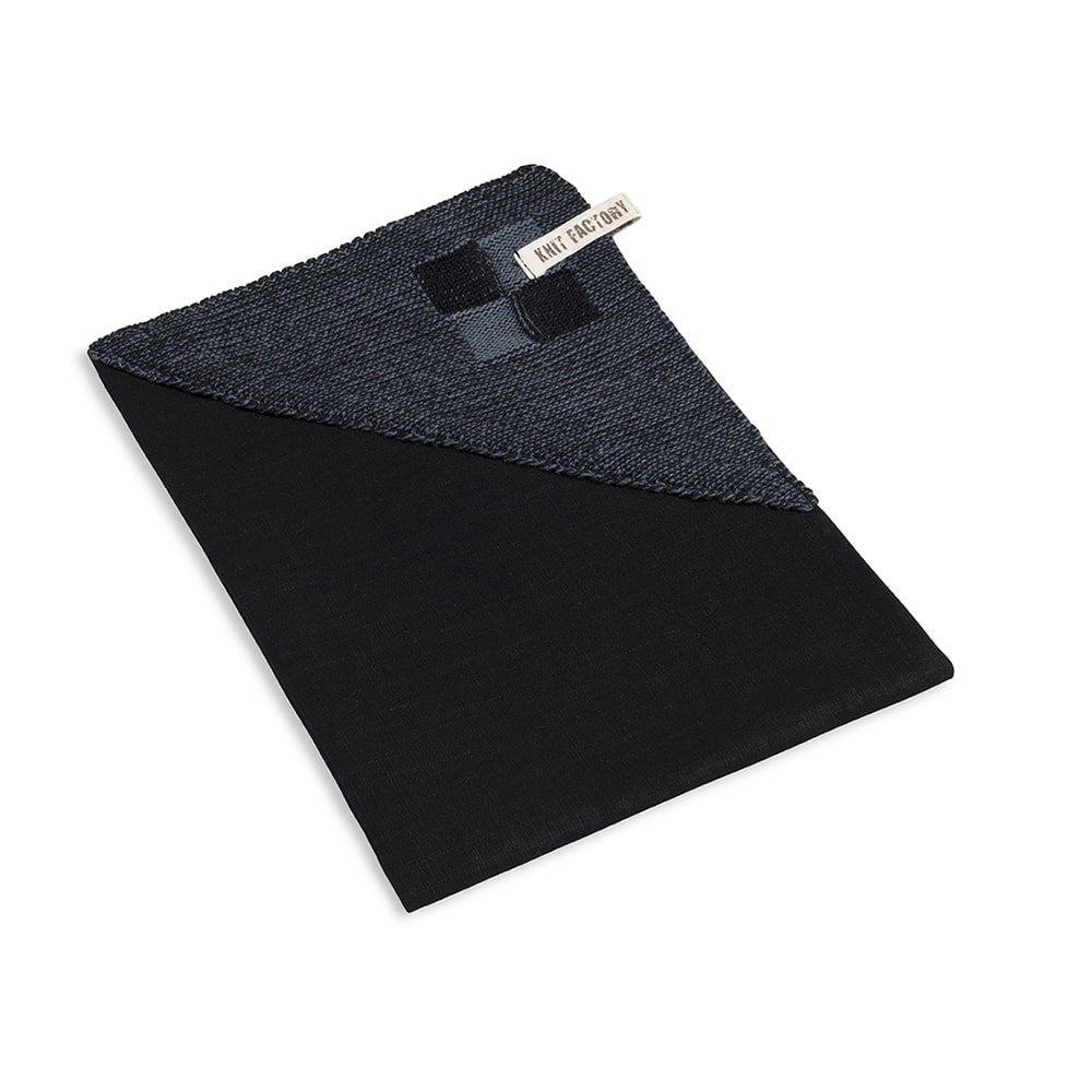 knit factory 2010168 theedoek grote blok 2 kleuren zwart granit 2