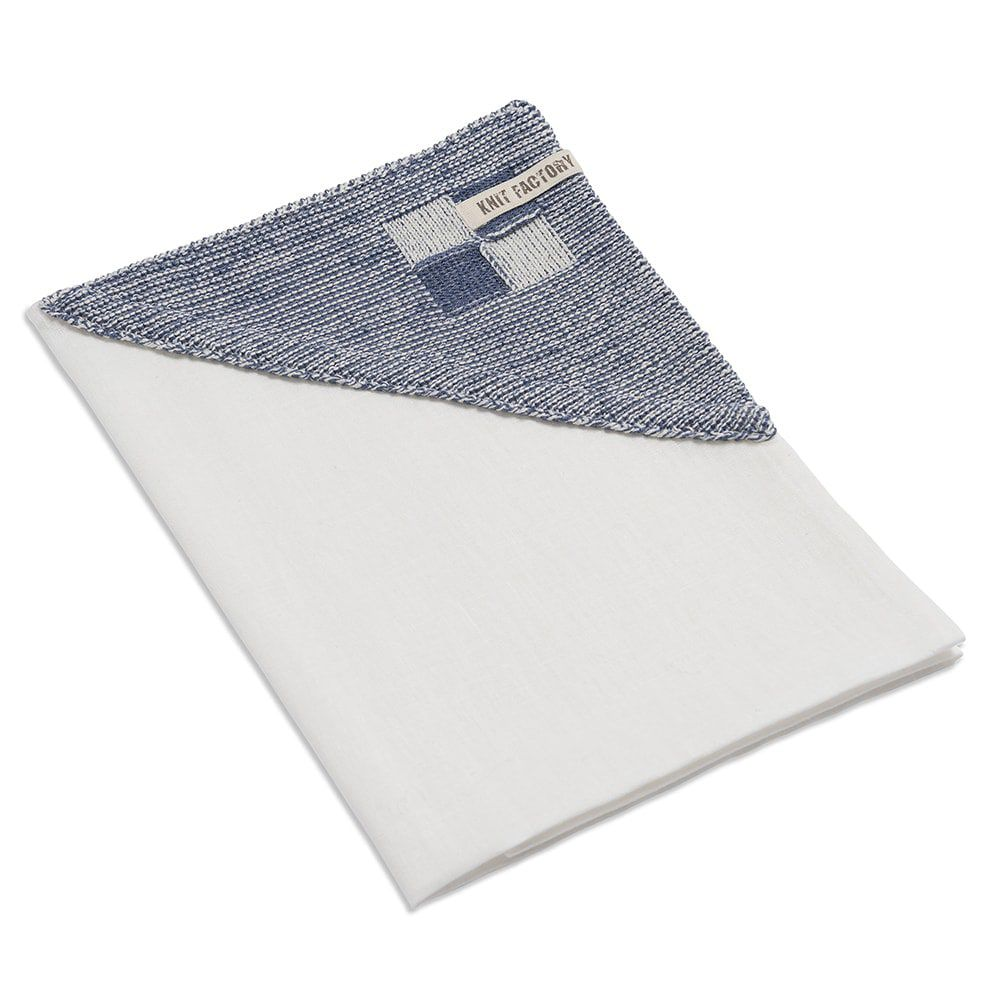 knit factory 2010177 theedoek grote blok 2 kleuren ecru jeans 2