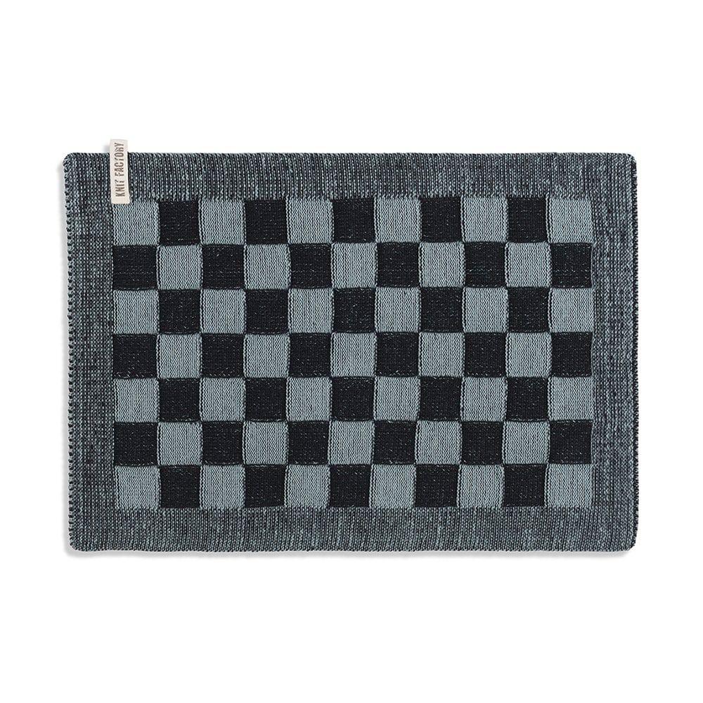 knit factory 2010240 placemat grote blok 2 kleuren zwart stone green