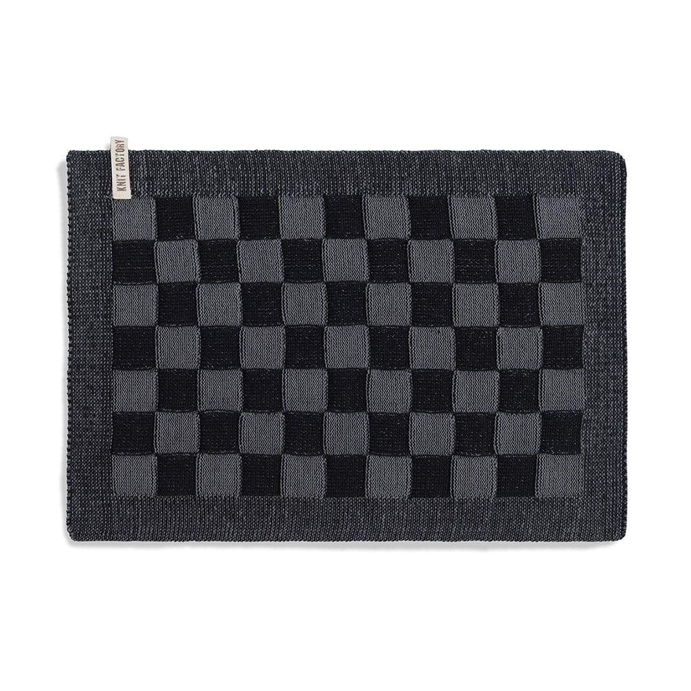 knit factory 2010246 placemat grote blok 2 kleuren zwart med grey
