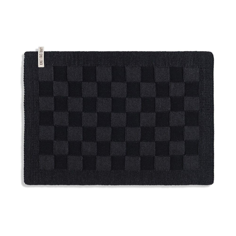 knit factory 2010260 placemat grote blok 2 kleuren zwart antraciet