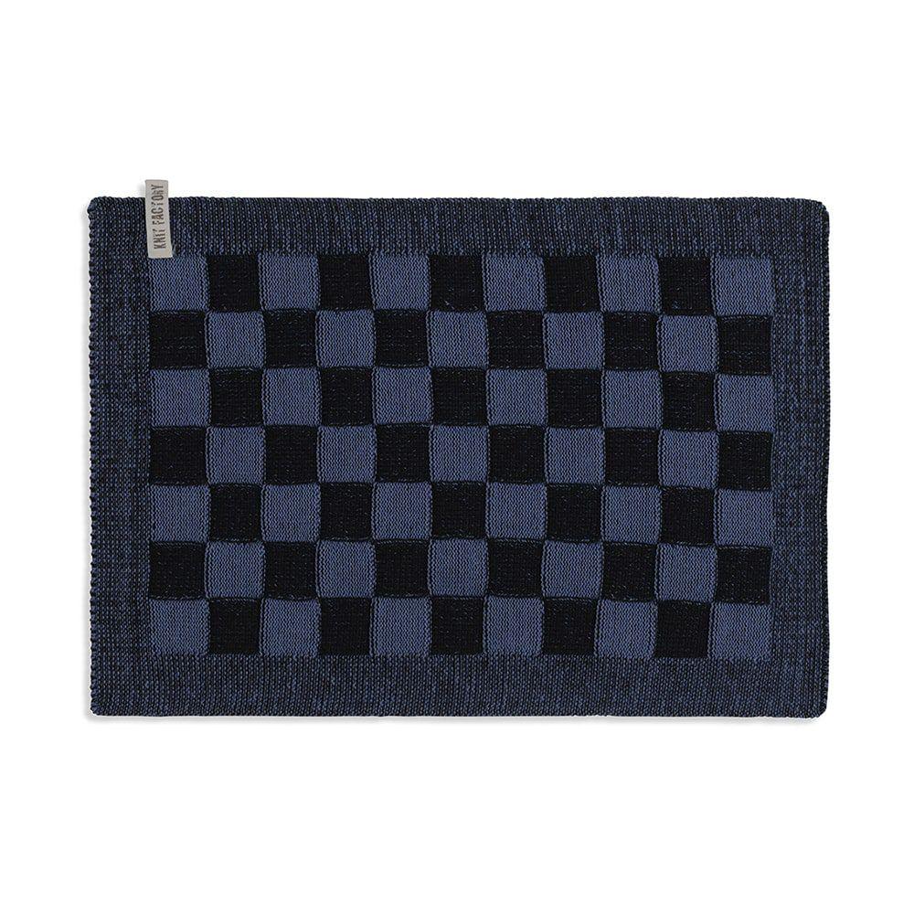 knit factory 2010266 placemat grote blok 2 kleuren zwart jeans