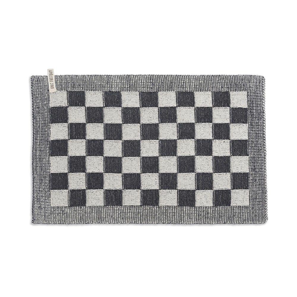 knit factory 2010270 placemat grote blok 2 kleuren ecru antraciet