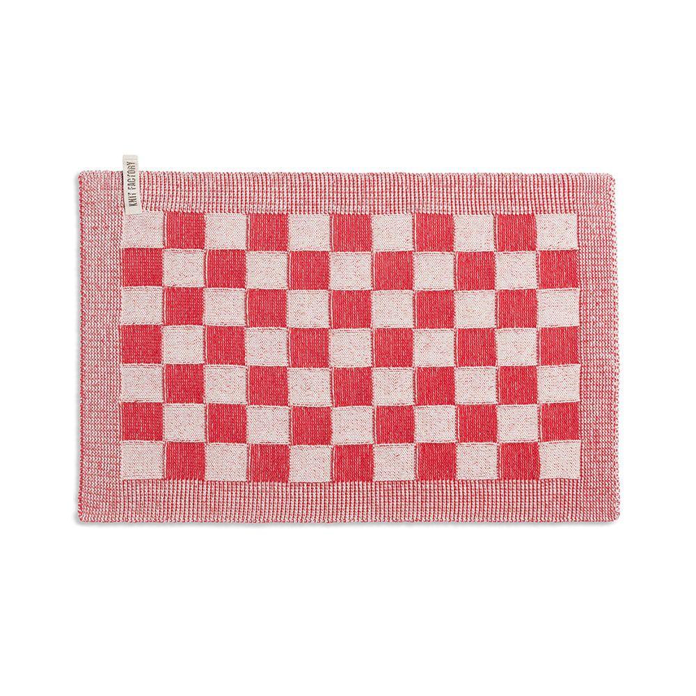 knit factory 2010273 placemat grote blok 2 kleuren ecru rood