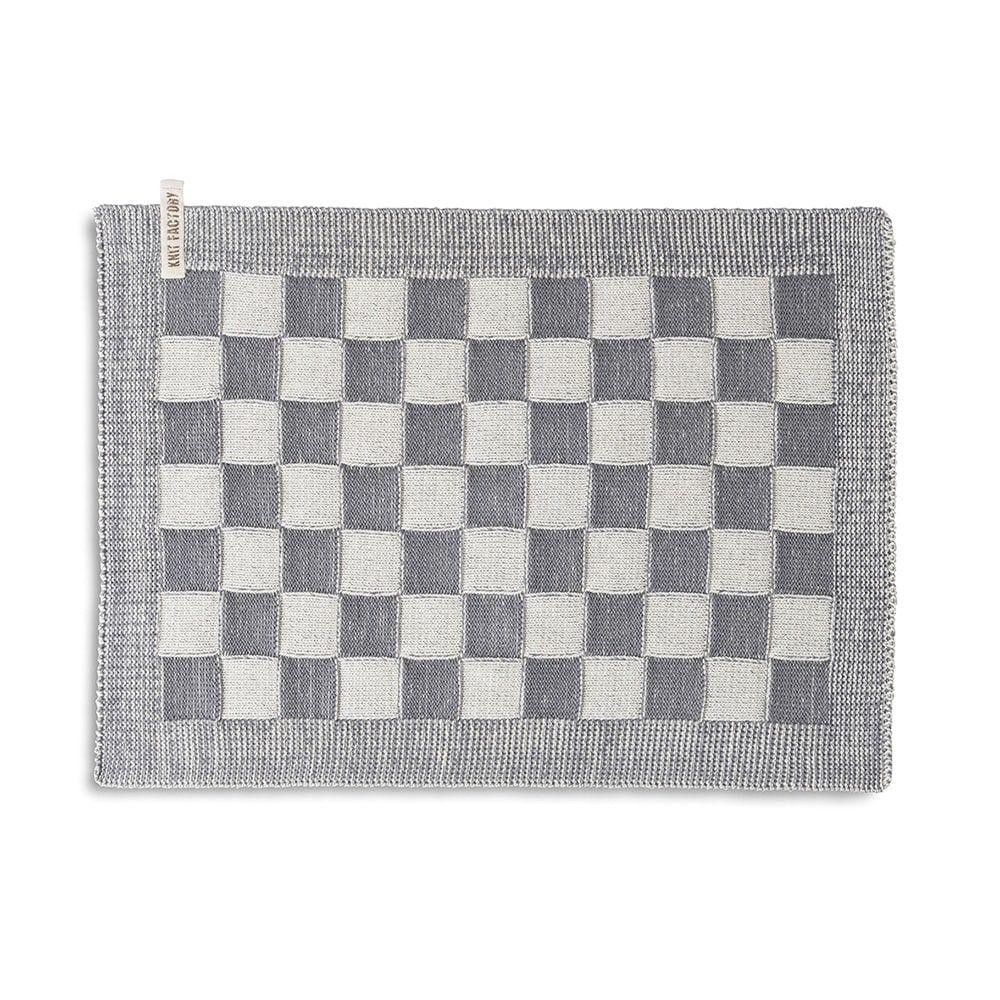 knit factory 2010279 placemat grote blok 2 kleuren ecru med grey