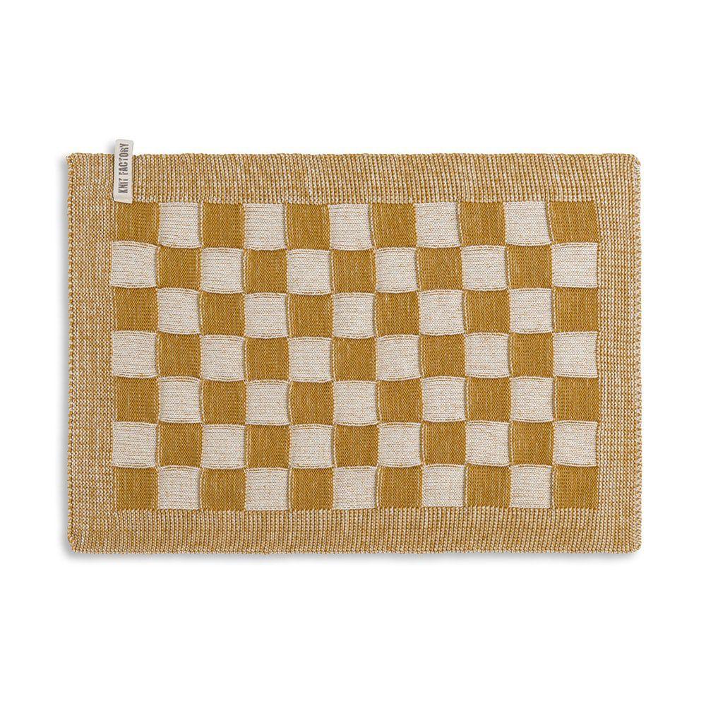 knit factory 2010281 placemat grote blok 2 kleuren ecru oker