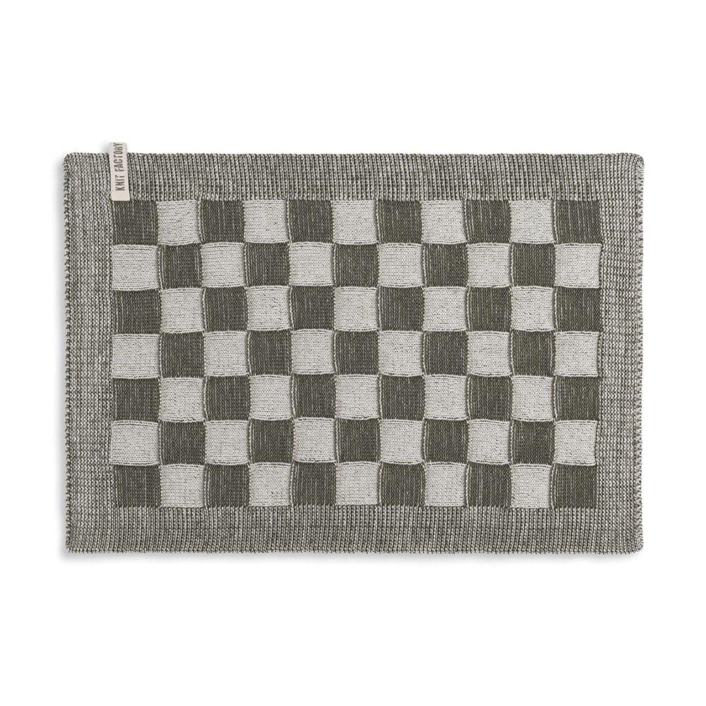 knit factory 2010283 placemat grote blok 2 kleuren ecru khaki