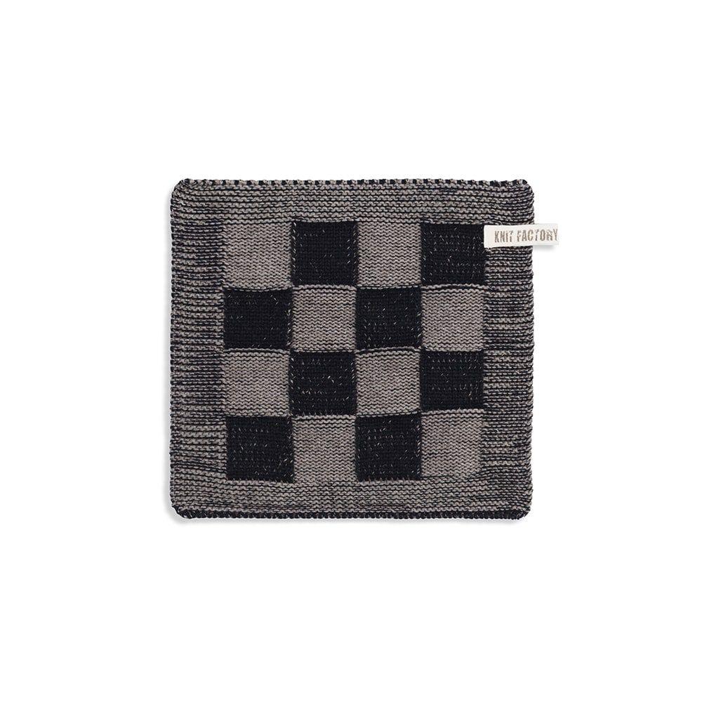 knit factory 2010339 pannenlap grote blok 2 kleuren zwart taupe