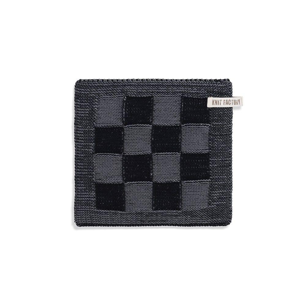 knit factory 2010346 pannenlap grote blok 2 kleuren zwart med grey