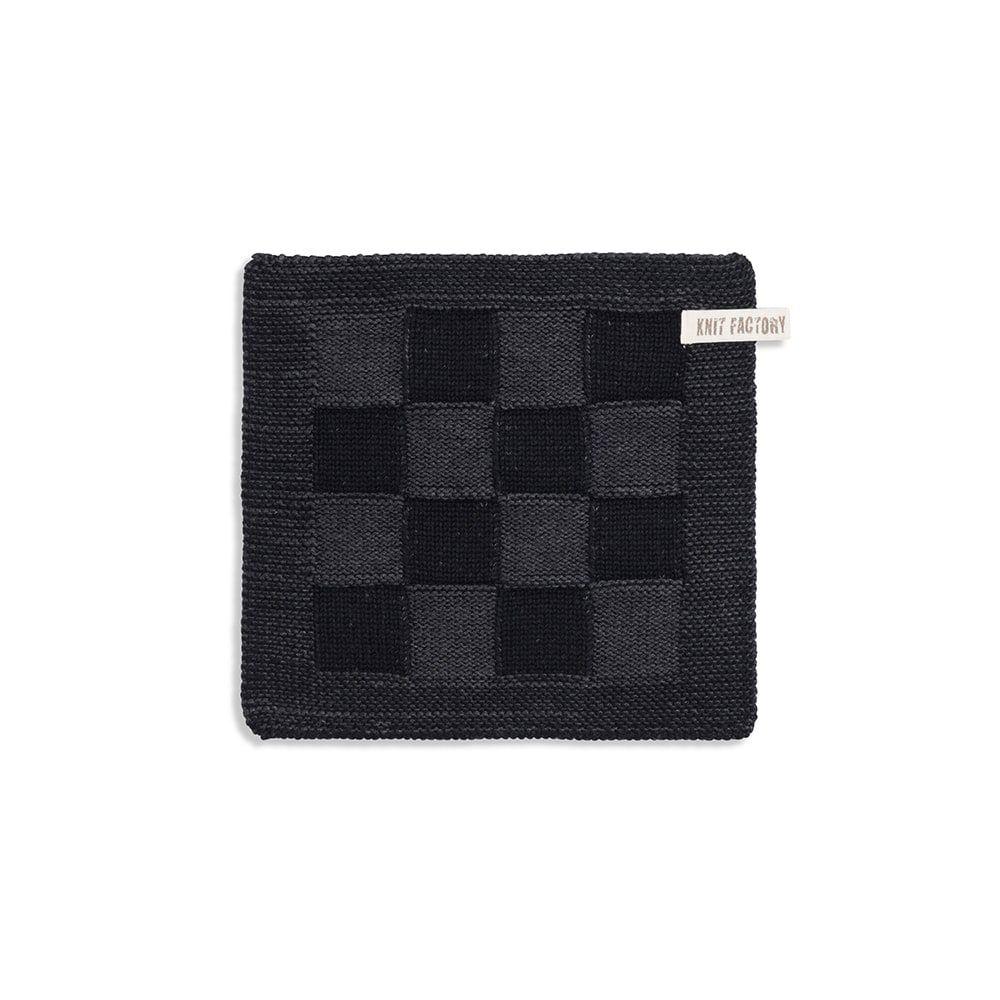 knit factory 2010360 pannenlap grote blok 2 kleuren zwart antraciet
