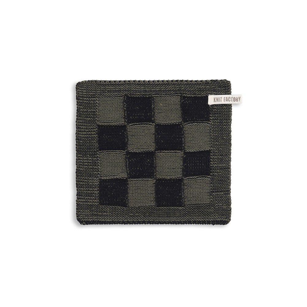 knit factory 2010363 pannenlap grote blok 2 kleuren zwart khaki