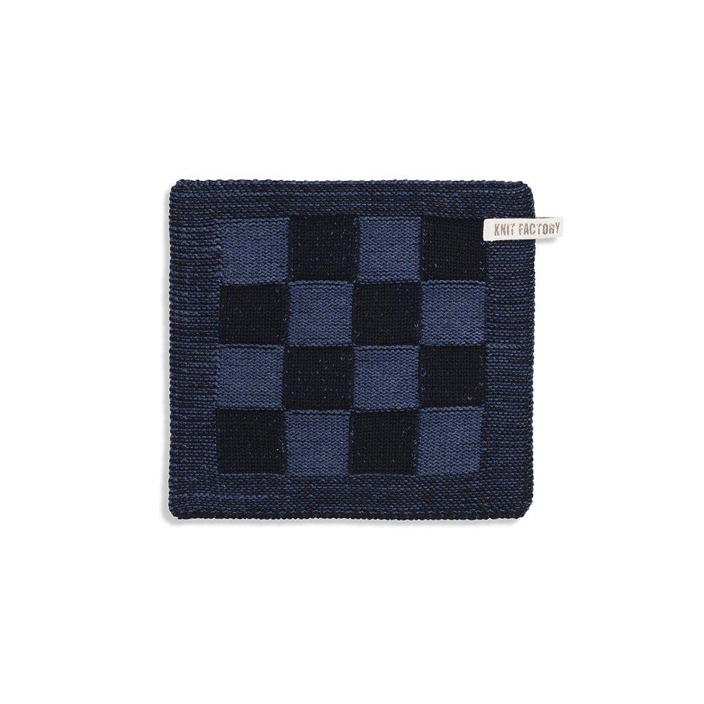 knit factory 2010366 pannenlap grote blok 2 kleuren zwart jeans