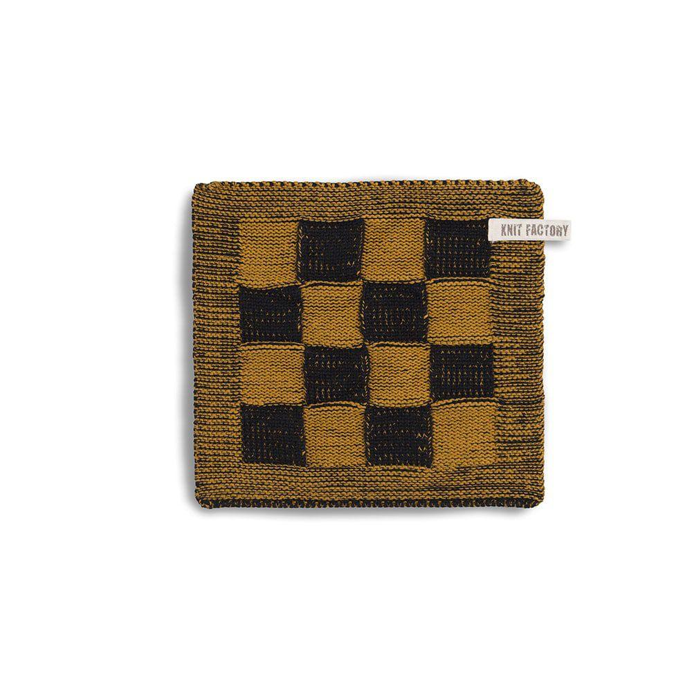 knit factory 2010367 pannenlap grote blok 2 kleuren zwart oker