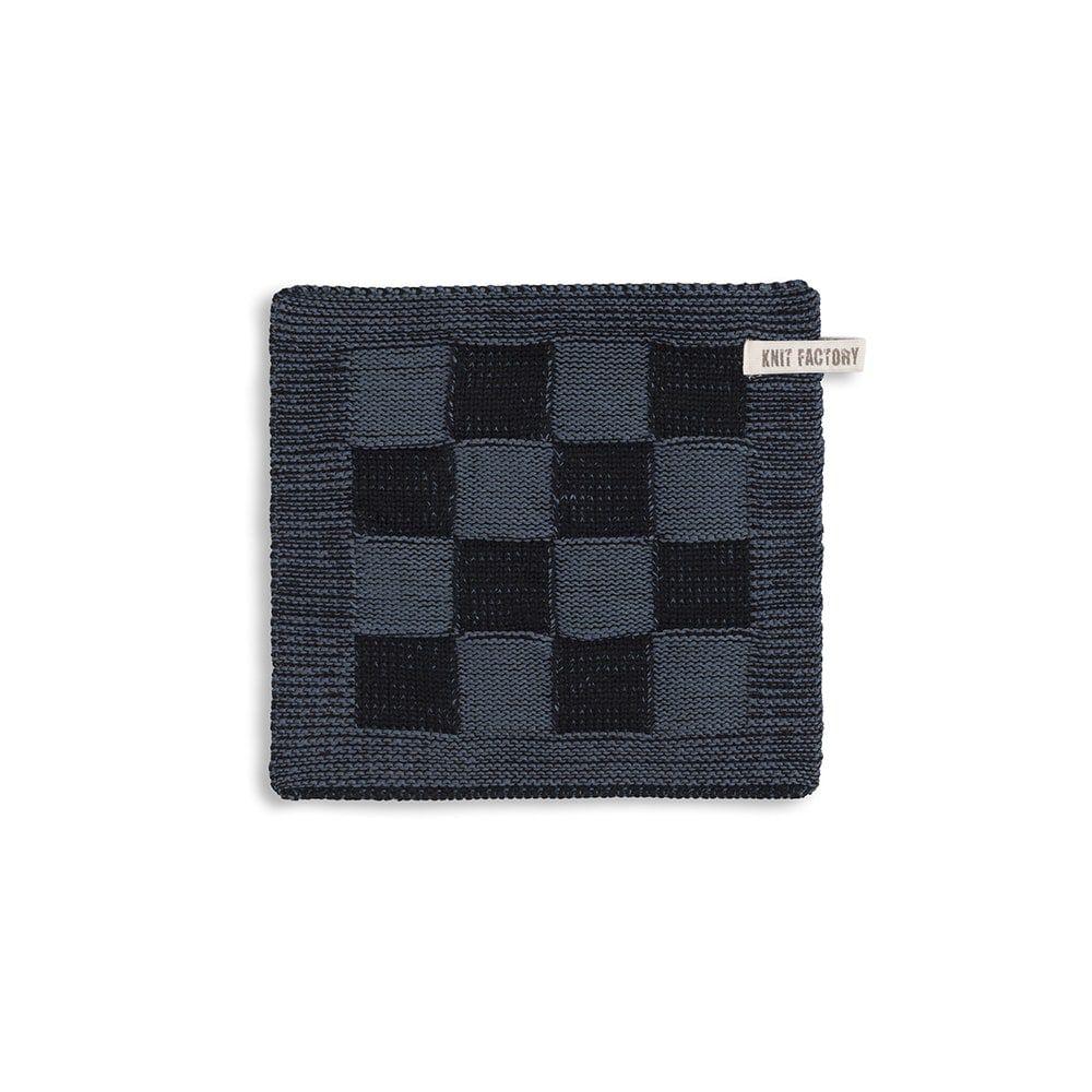 knit factory 2010368 pannenlap grote blok 2 kleuren zwart granit