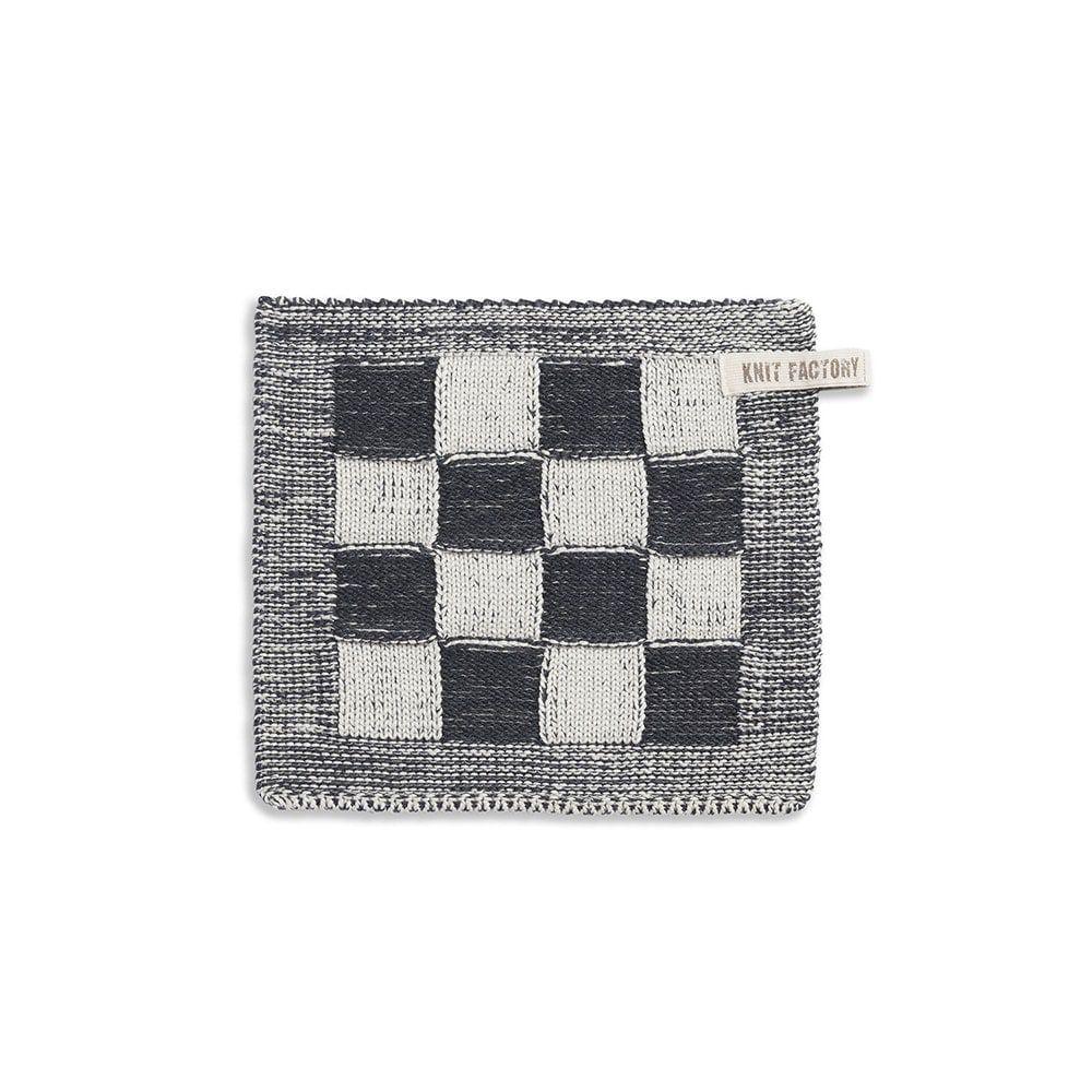 knit factory 2010370 pannenlap grote blok 2 kleuren ecru antraciet