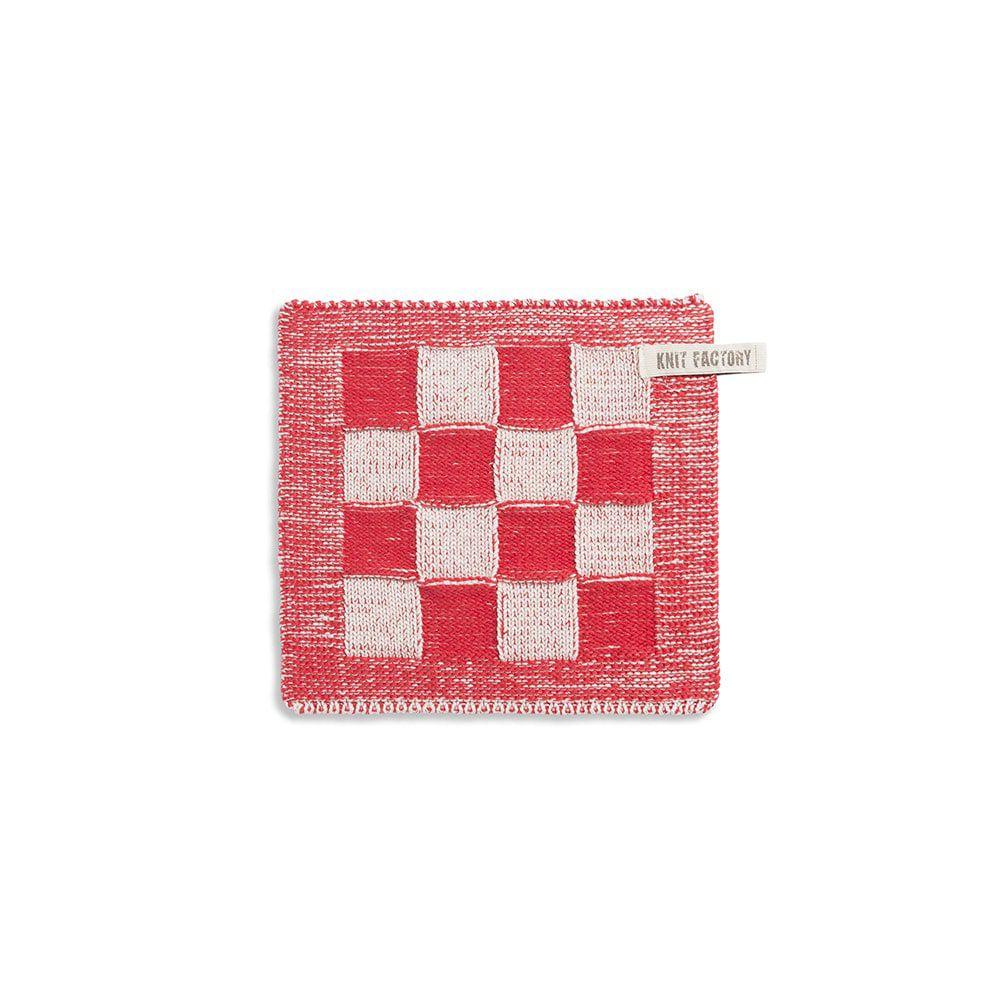 knit factory 2010373 pannenlap grote blok 2 kleuren ecru rood