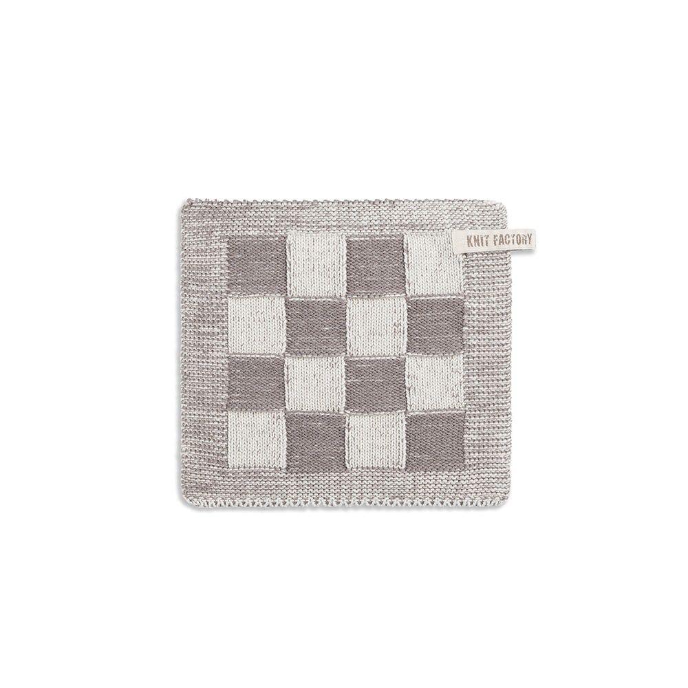 knit factory 2010378 pannenlap grote blok 2 kleuren ecru taupe
