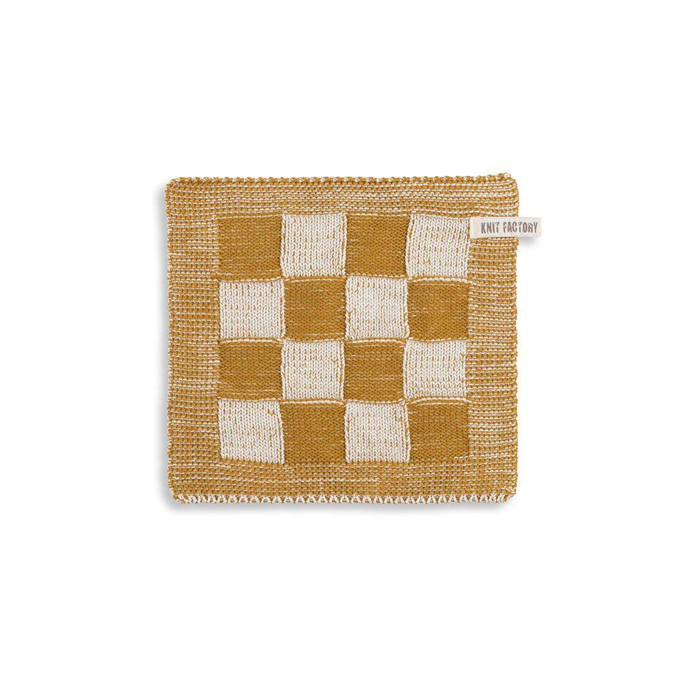 knit factory 2010381 pannenlap grote blok 2 kleuren ecru oker