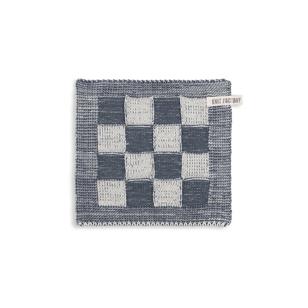 knit factory 2010382 pannenlap grote blok 2 kleuren ecru granit