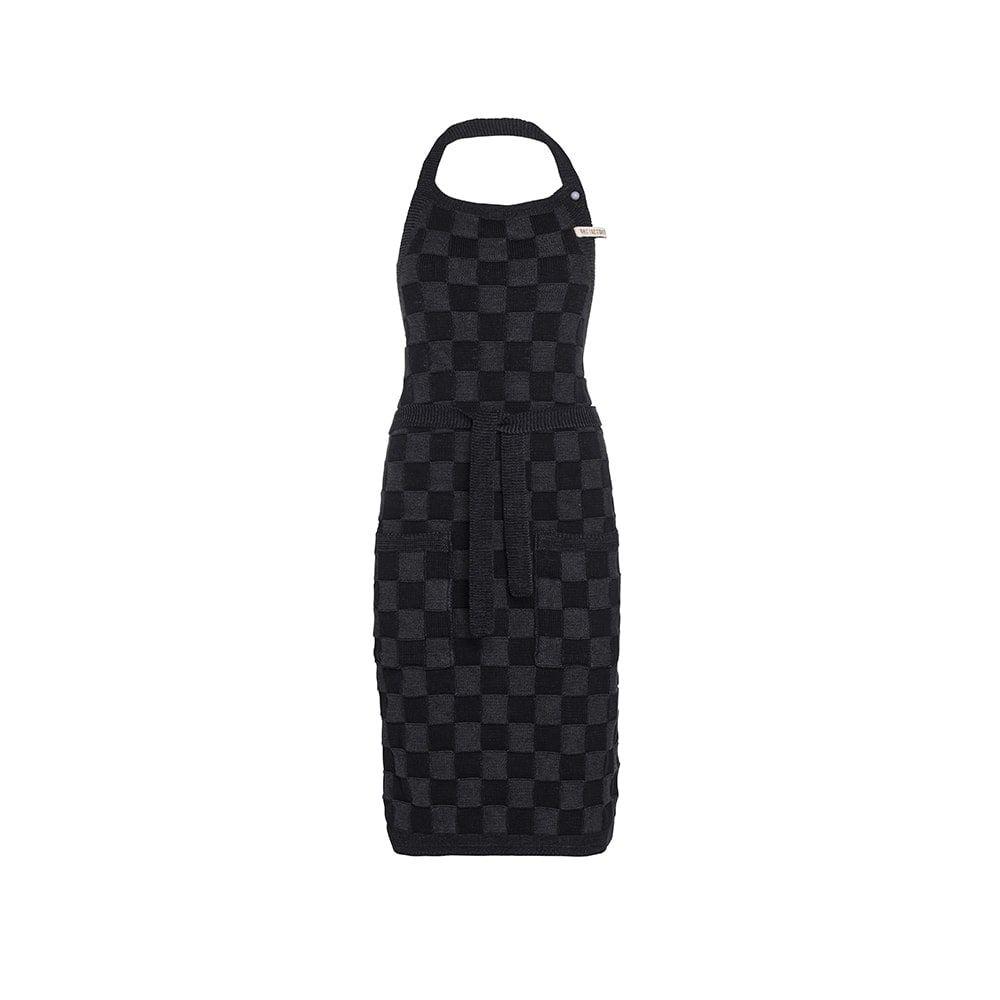 knit factory 2010460 keukenschort grote blok 2 kleuren zwart antraciet