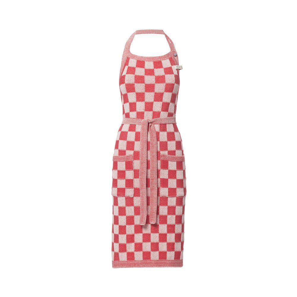 knit factory 2010473 keukenschort grote blok 2 kleuren ecru rood