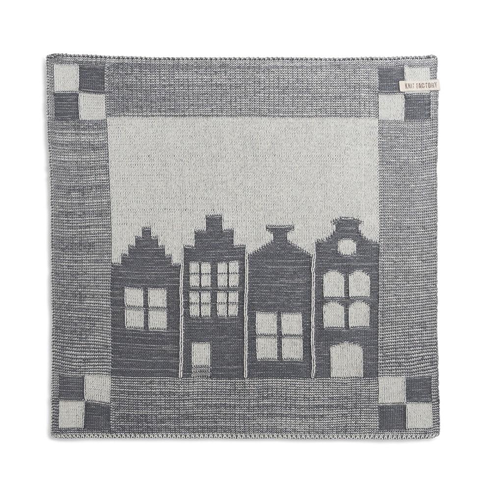 knit factory 2070079 keukendoek huis ecru med grey