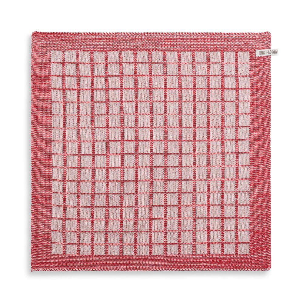 knit factory 2170073 keukendoek alice ecru rood