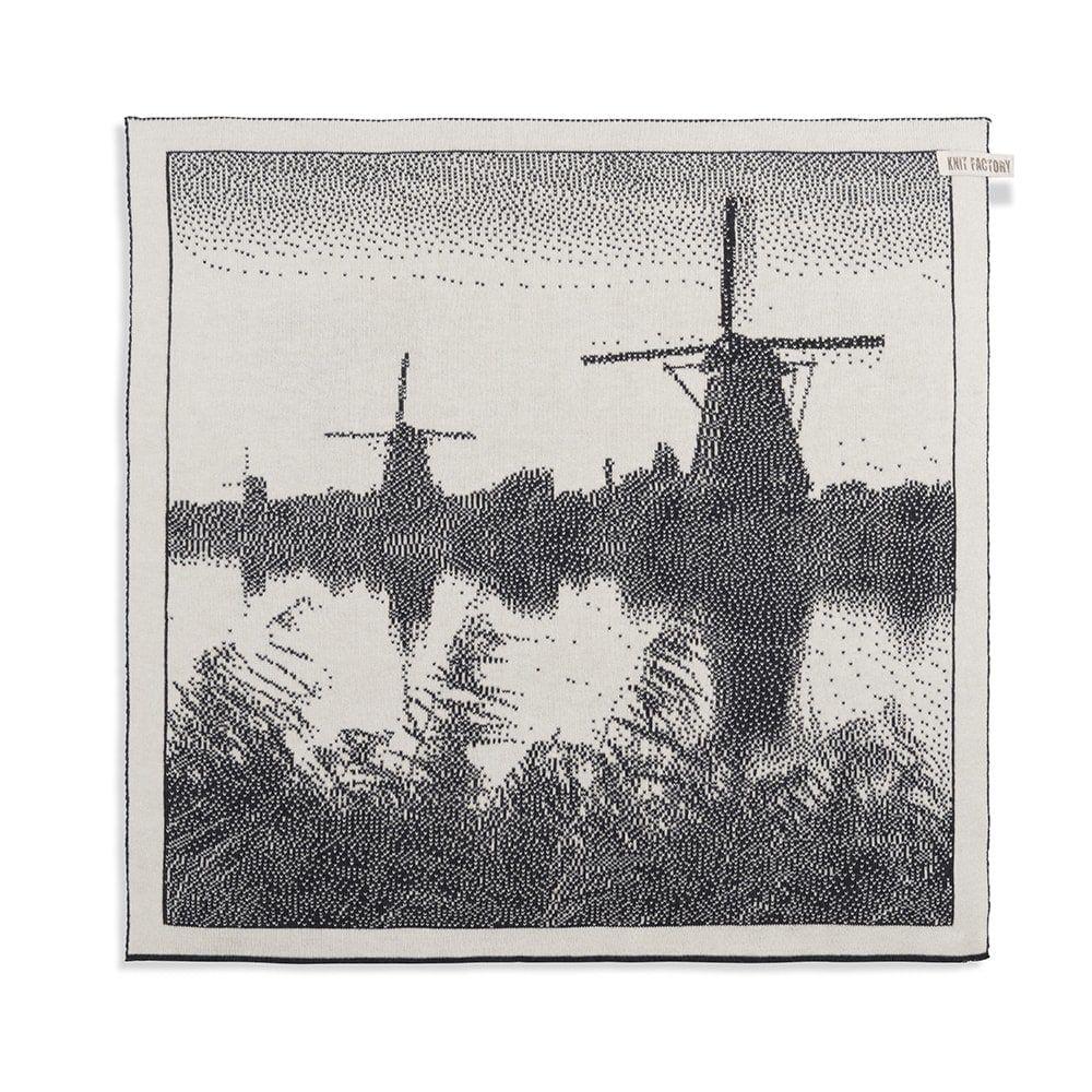 knit factory 2300070 keukendoek molens ecru antraciet 1