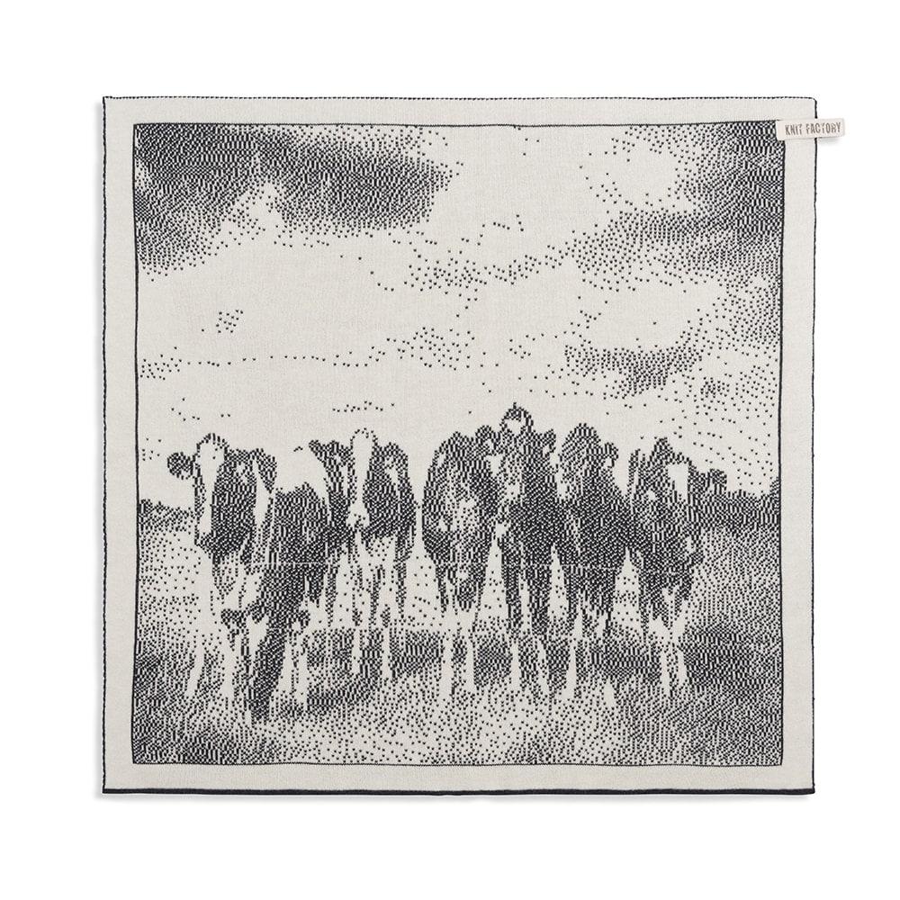 knit factory 2310070 keukendoek koeien ecru antraciet 1