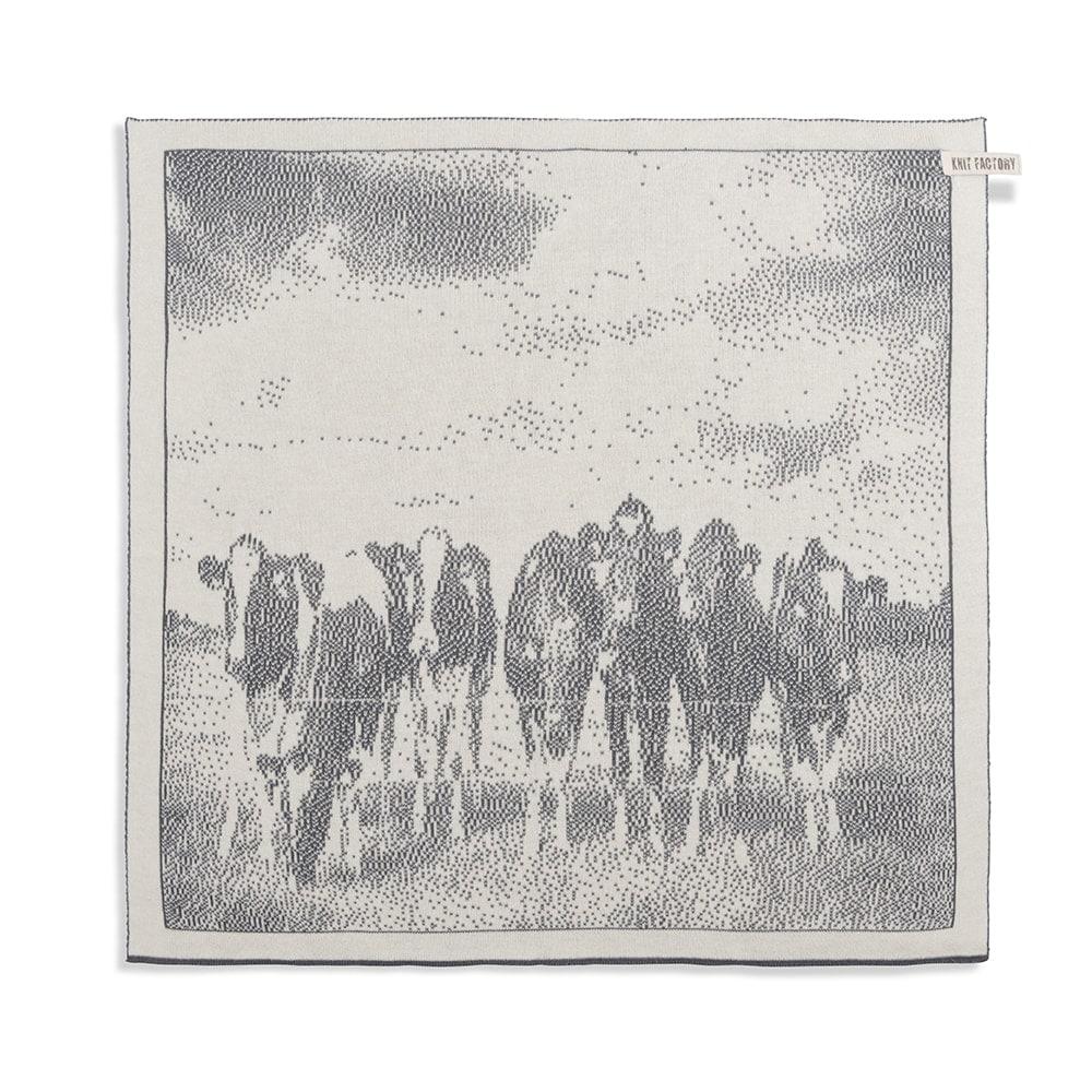 knit factory 2310079 keukendoek koeien ecru med grey 1