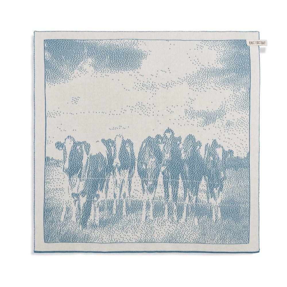 knit factory 2310080 keukendoek koeien ecru ocean 1