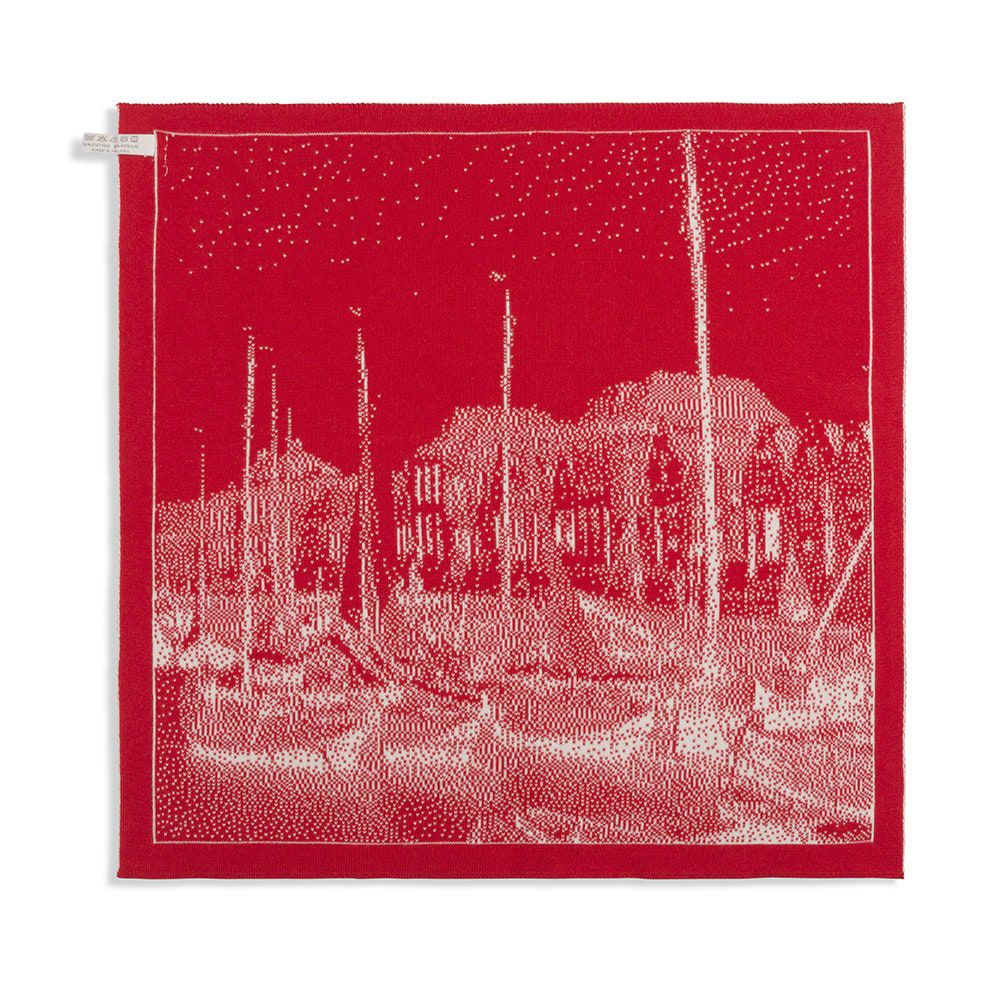 knit factory 2330073 keukendoek haven ecru rood 2