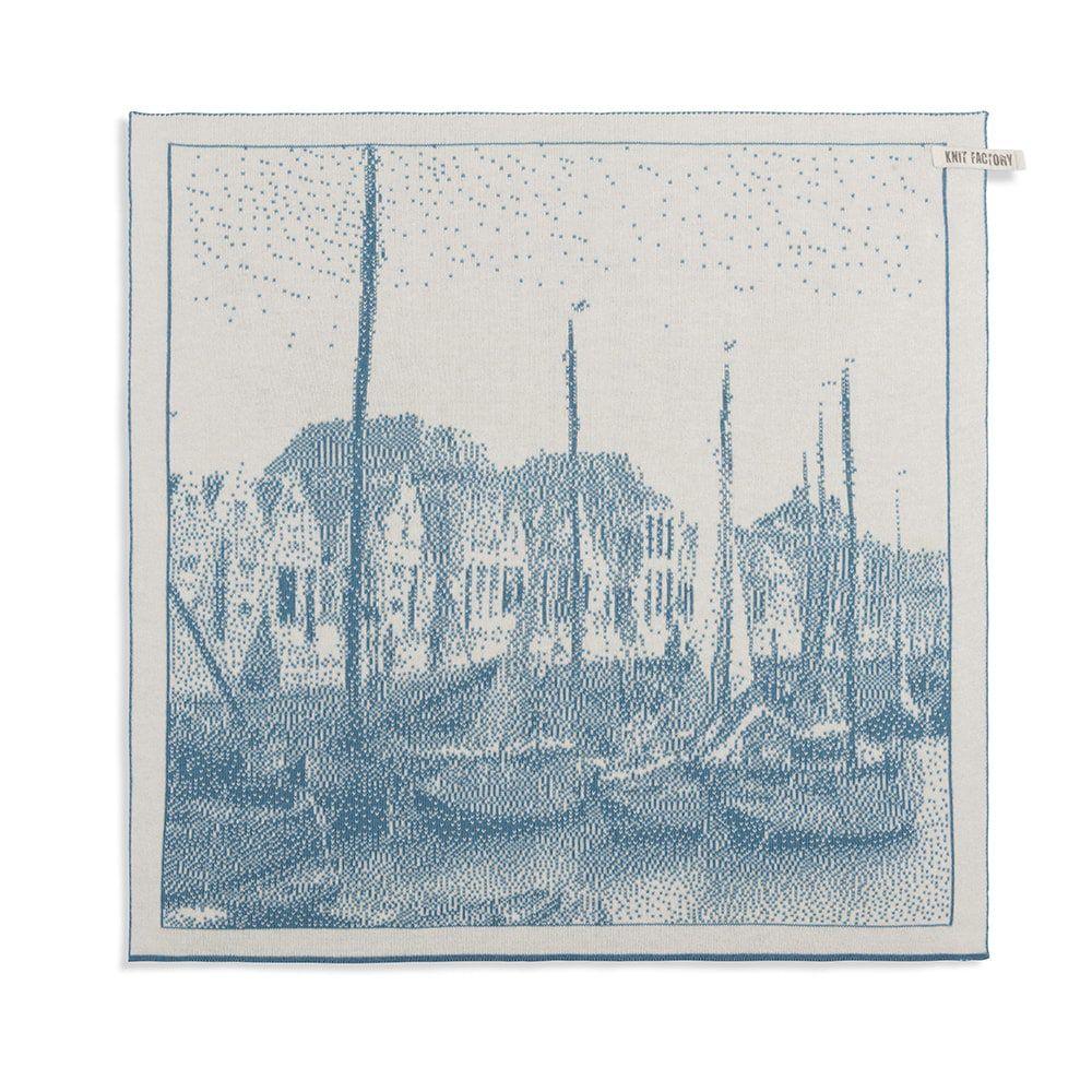 knit factory 2330080 keukendoek haven ecru ocean 1